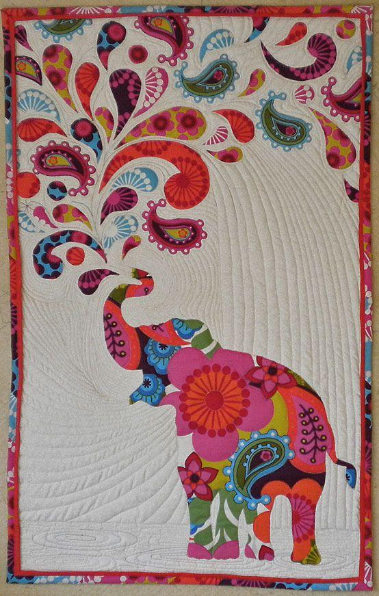 Lovely Paisley Splash Elephant Quilt Pattern Free