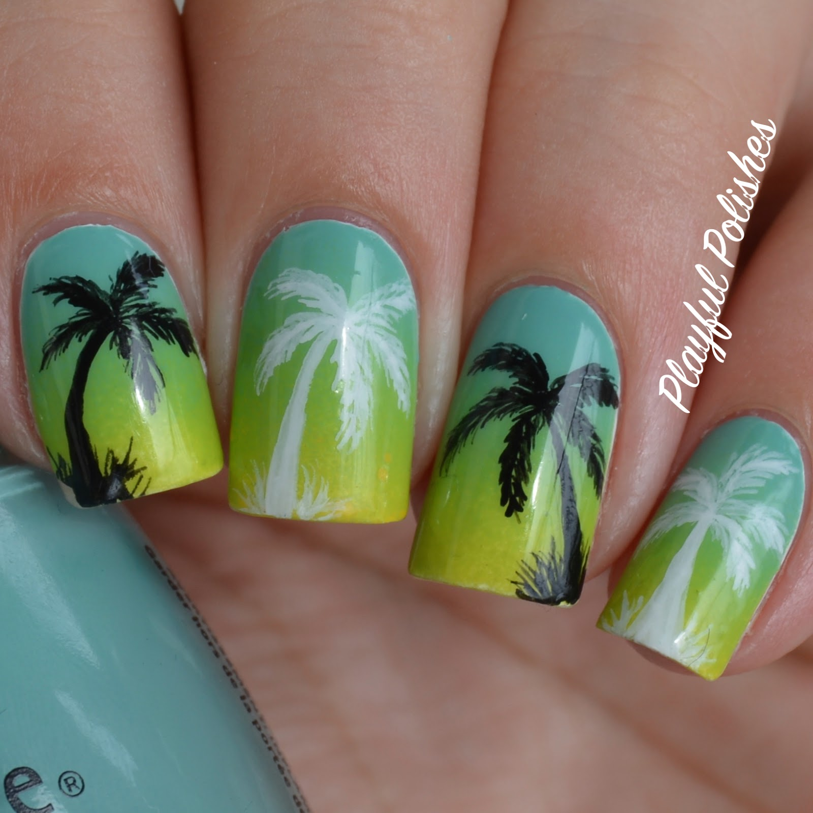 Playful Polishes: GRADIENT PALM TREE NAIL ART