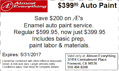 Coupon $399.95 Auto Paint Sale May 2017