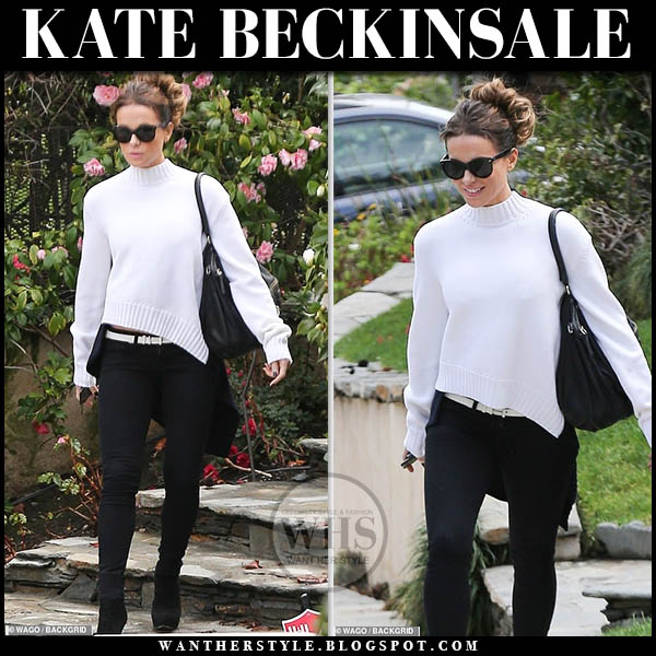 Kate Beckinsale in white asymmetric monse sweater and black suede prada boots hollywood street style february 3