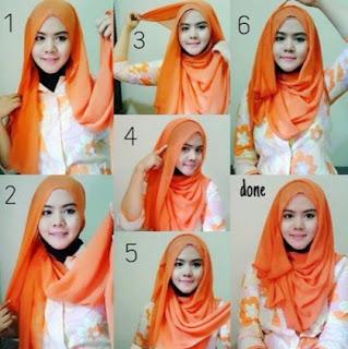 Tutorial hijab pashmina wajah bulat untuk remaja