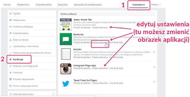 Jak zmienić obrazek aplikacji na FB (newsletter, instagram i inne)