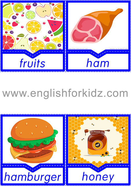Printable flashcards to learn food vocabulary