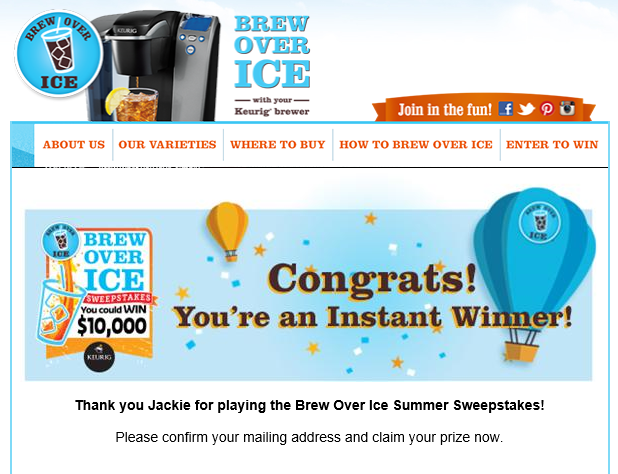 LIVE LIKE A MOM: Brew Over Ice Instant Win Sweepstakes