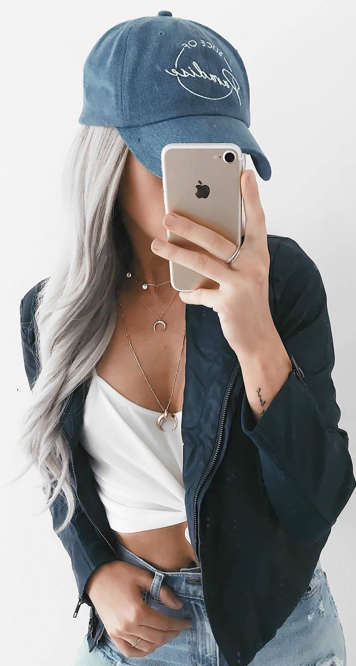 cool outfit idea / denim hat + black bomber + white top + denim shorts