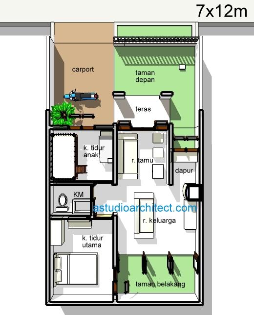 Gambar Desain Rumah Ukuran 7x12 Meter Contoh Sur