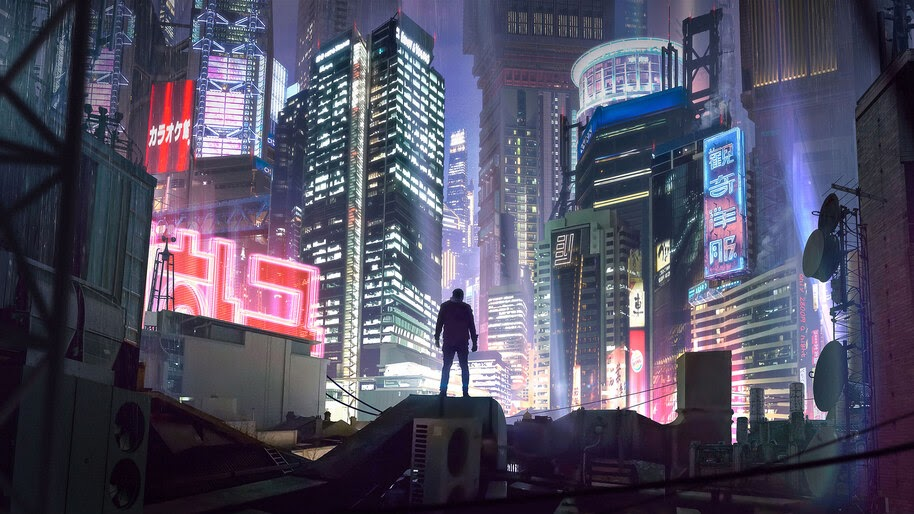Cyberpunk, City, Night, Buildings, Sci, If, 4K, #4.943