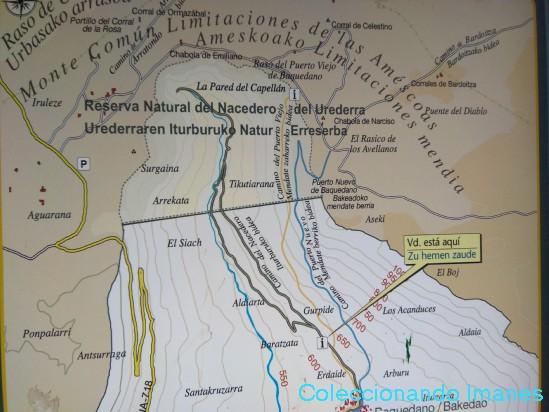 Mapa con la ruta por el urederra