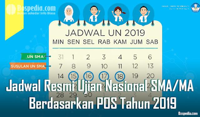 Jadwal Resmi UNBK dan UN SMA/MA Berdasarkan POS Tahun 2019