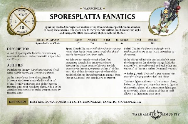 Sporesplatta fanatics warscroll