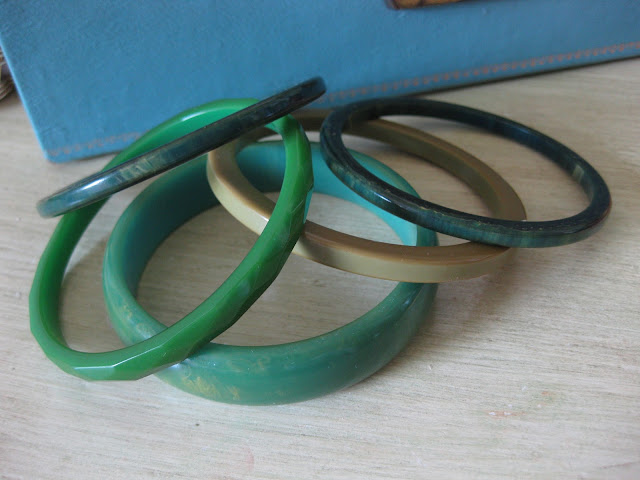 green bakelite bangle bracelets