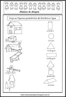 Figuras geométricas das casas dos três porquinhas