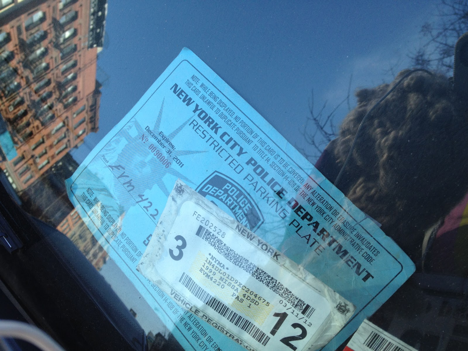 Placard But Suzannah B Troy Artist Illegal Nypd Parking Placard Parked By