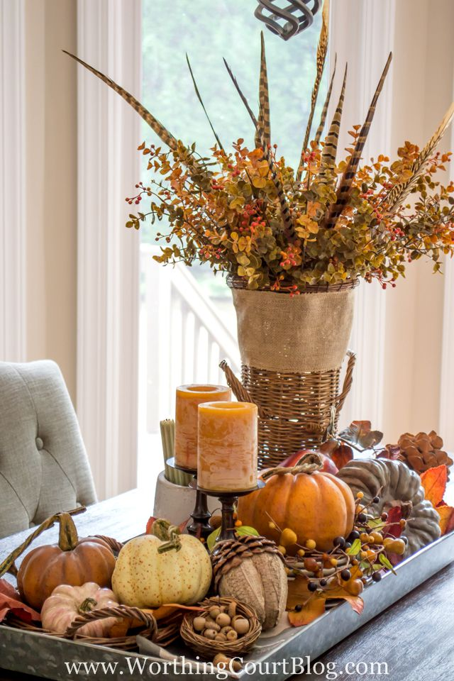 fall centerpiece with traditional colors