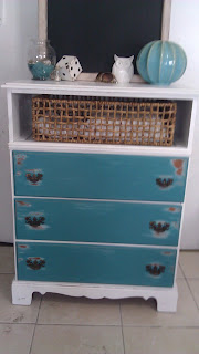 teal turquoise peacock blue white distressed dresser media stand tv console