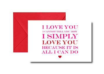 I simply love you St Valentines Day card, Oh so cherised