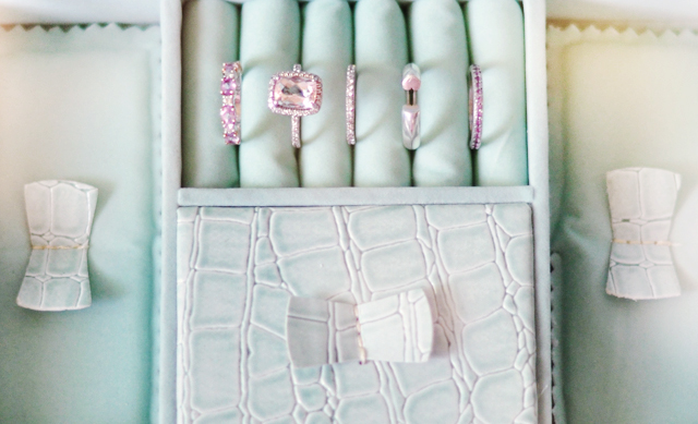 mint green crocodile jewelry box, jewels, diamonds, rings, vintage necklaces