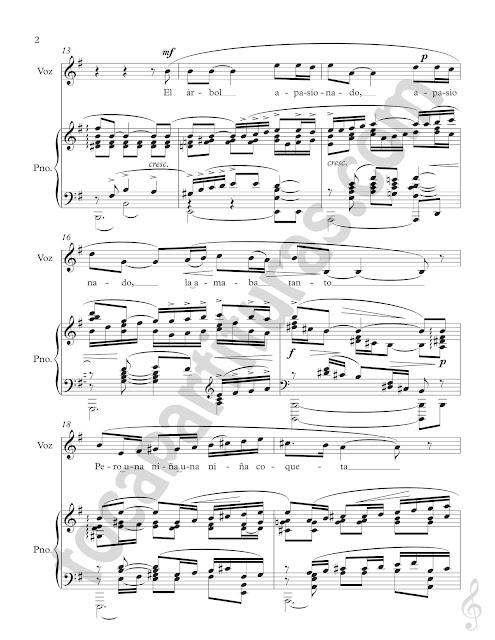 Partitura de La Rosa y el Sauce para Voz y Piano acompañamiento Piano and Vocie Sheet Music
