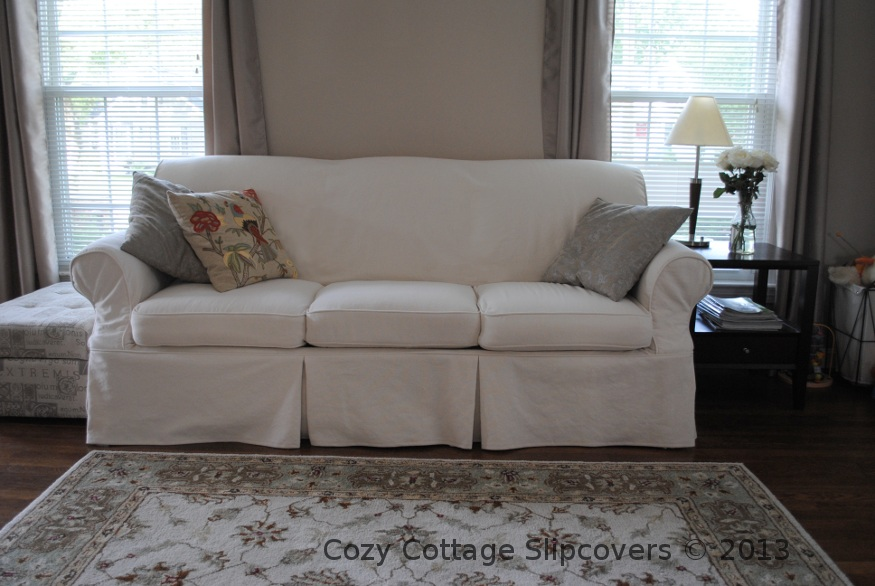 Natural Brushed Canvas Sofa Slipcover