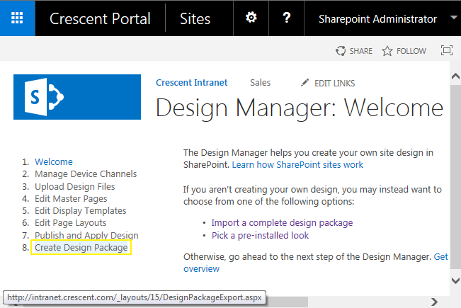 sharepoint 2013 create a design package