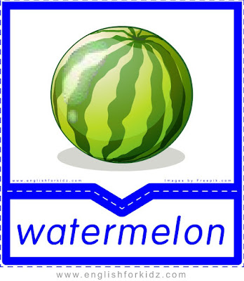 Watermelon - English flashcards for the fruits, vegetables and berries topic
