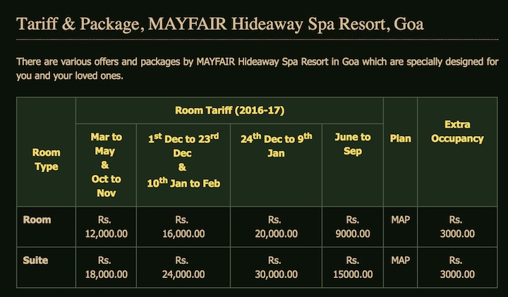 Mayfair hotel tariff