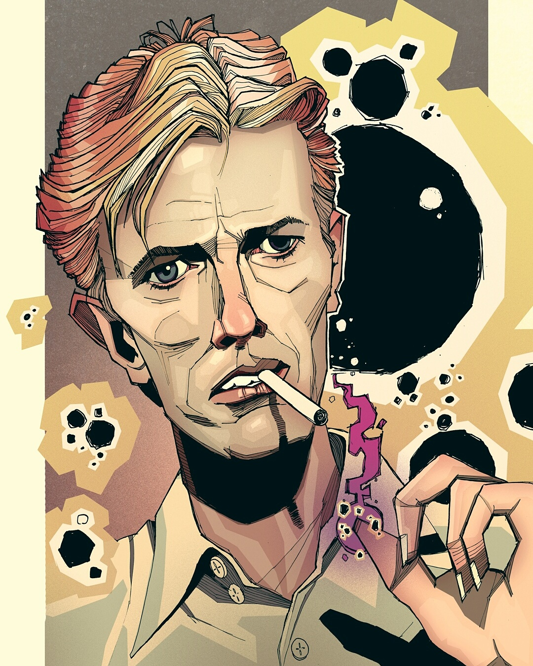 David Bowie Smoking artwork