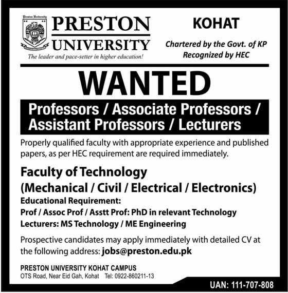 Jobs PRESTON University Kohat Mar 2019