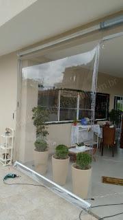 Toldo Cortina Retrátil  transparente  em casa- so3M