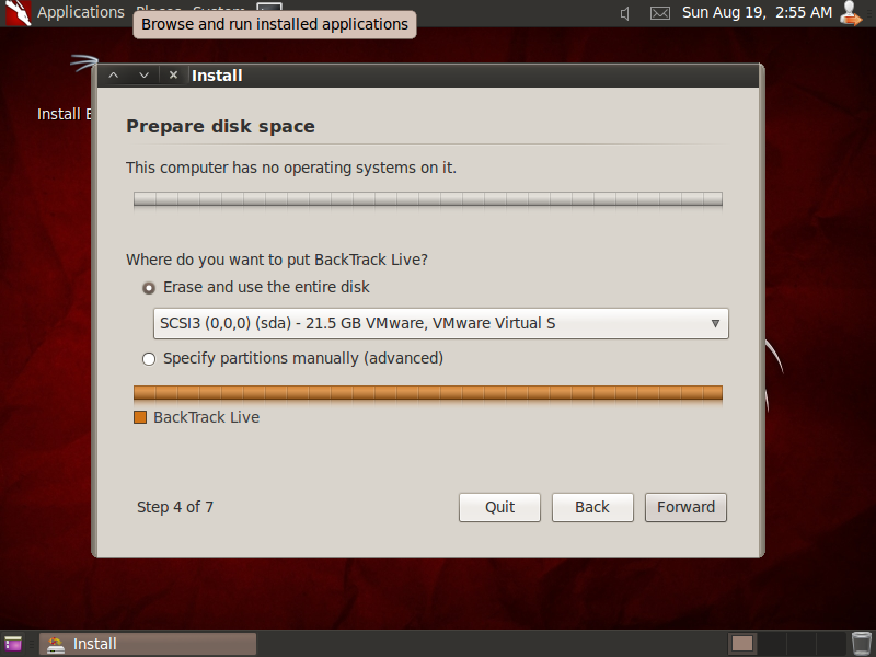 Installing backtrack 5 R3 in virtual machine step by step [ how to