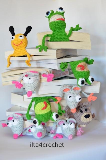 szydełkowe zakładki do książek, mysz, miś, żaba, pszczoła