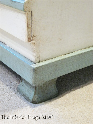 Painted and distressed feet on faux secretary desk
