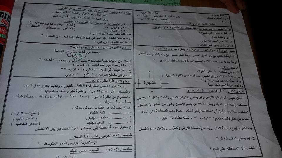امتحان الصف الرابع لغة عربية محافظة القاهرة اليوم