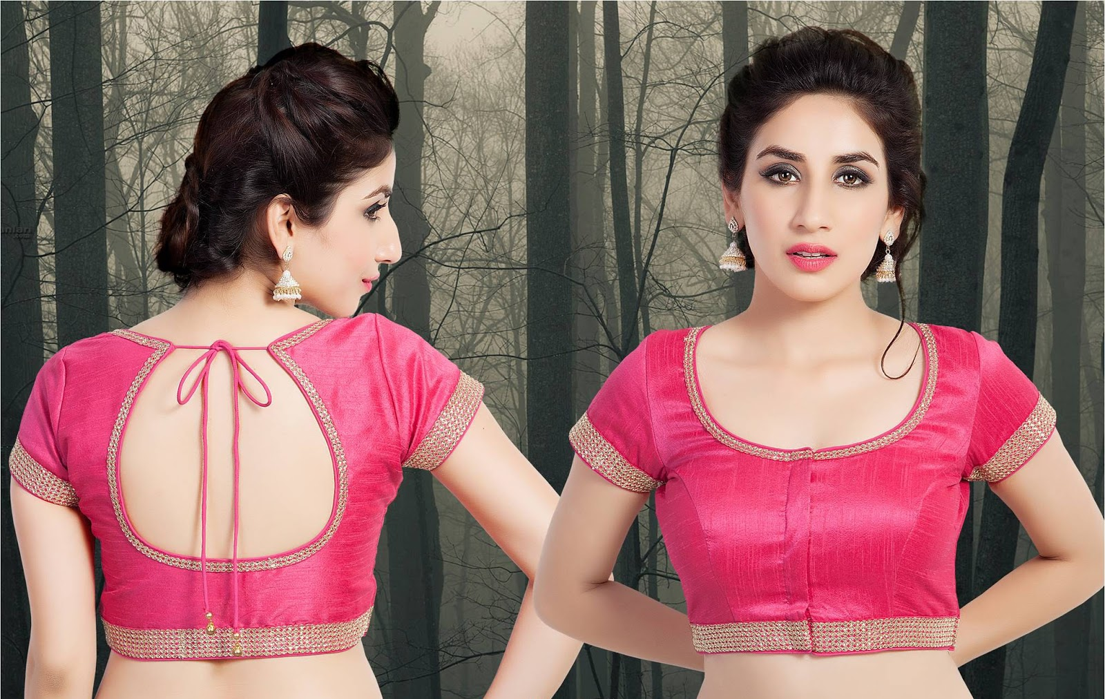 Latest saree patch work blouse designs blouse designs for Dijain photo