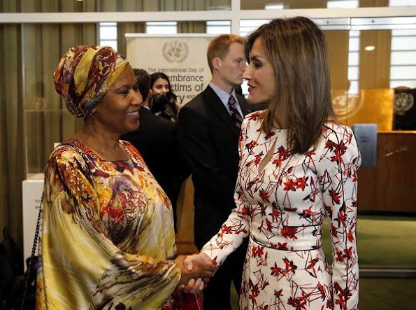 Queen Letizia wears Caroline Herrera Floral Inspired Dress, Lodi red pumps