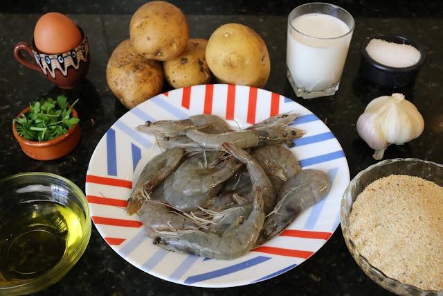 Ingredientes para delicias de langostinos