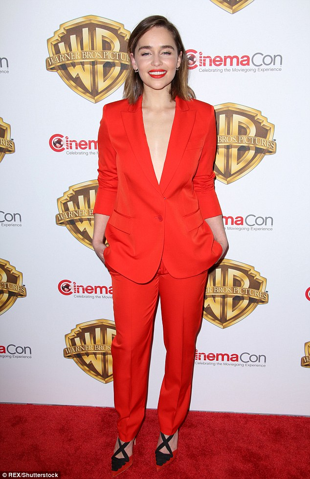 Emilia Clarke is red hot and braless at the CinemaCon 2016 in Las Vegas