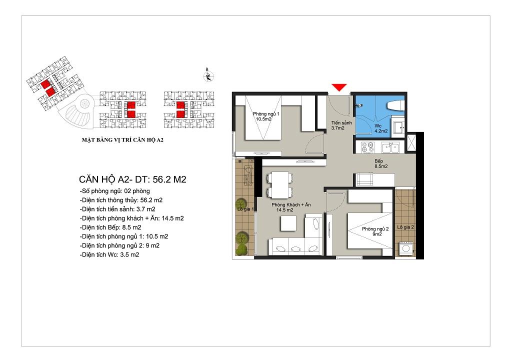 Căn hộ số 01,21 rộng 56,8m2 tòa CT1A, CT1B, CT2