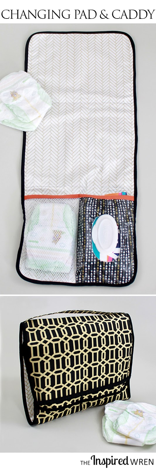 the inspired wren tutorial on the go diaper caddy changing pad. Black Bedroom Furniture Sets. Home Design Ideas