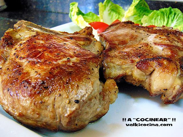 Chuletón de cerdo asado al horno