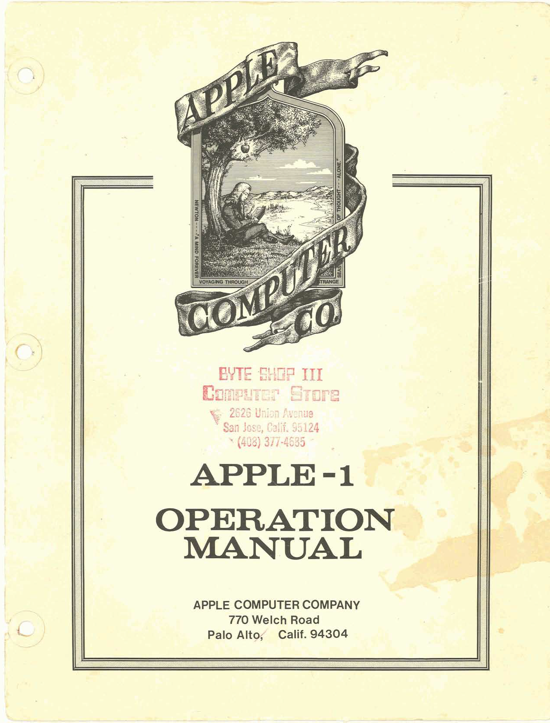 Apple-1 Operation Manual