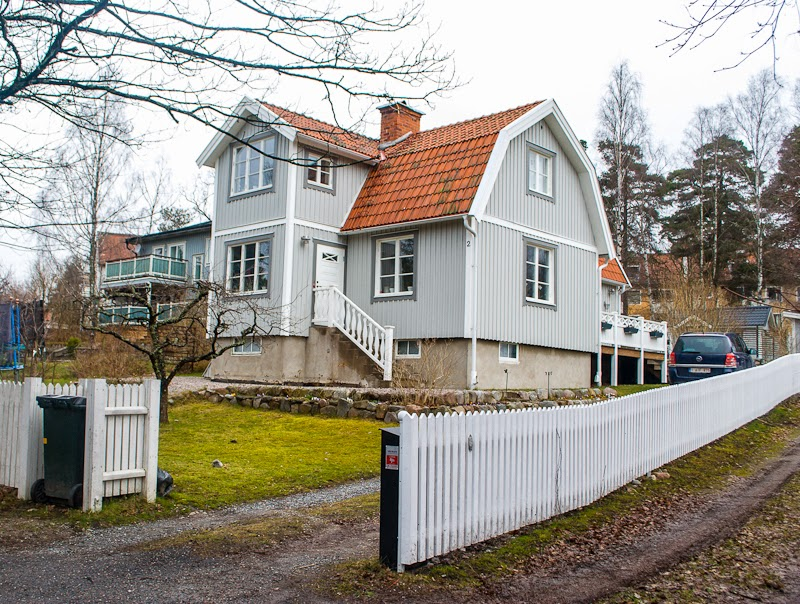 Houses and wooden fences Vaxholm sweden