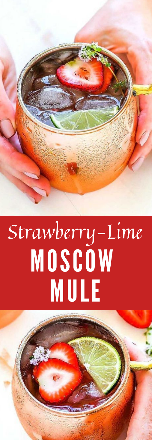 Strawberry Lime Moscow Mule #healthydrink #strawberry