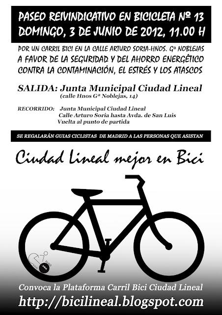Paseo reivindicativo en bicicleta en ciudad lineal