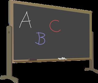 Papan Tulis dengan Tulisan A, B, dan C