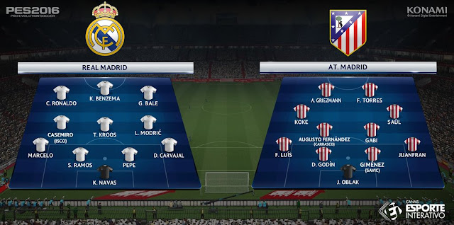 Real Madrid x Atlético de Madrid - Escalações