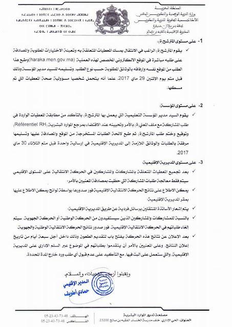 الفقيه بن صالح:الحركة الانتقالية المحلية آخر أجل  29 ماي