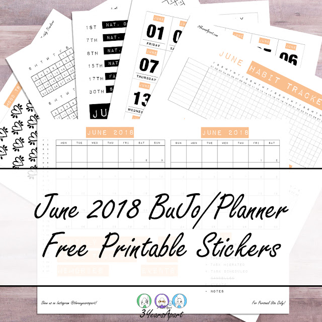 3 Years Apart - 6 sheets of paper arranged on a wood desk of June 2018 Bullet Journal / Planner Free Printable Stickers, Tangerine or Black and White