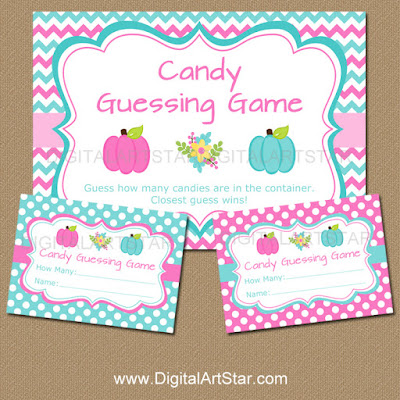 little pumpkin candy guessing game for gender reveal party