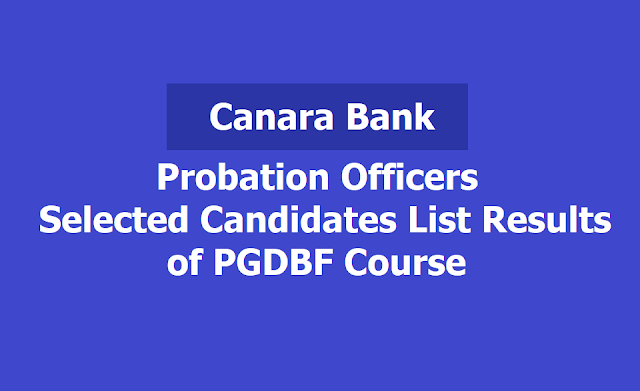 Canara Bank POs Selected Candidates List Results of PGDBF Course 2019